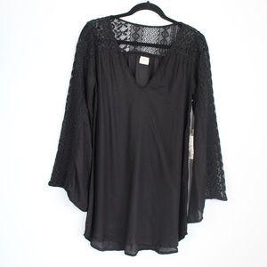 O'Neill black swim cover up crochet bell sleeve